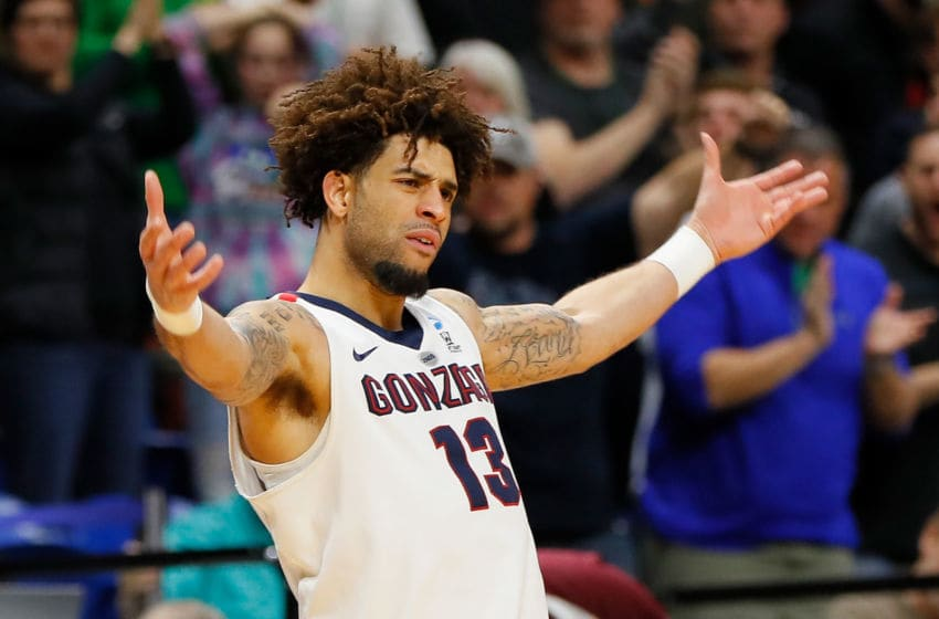 BOISE, ID - MARCH 17: Josh Perkins #13 of the Gonzaga Bulldogs celebrates during the second half against the Ohio State Buckeyes in the second round of the 2018 NCAA Men's Basketball Tournament at Taco Bell Arena on March 17, 2018 in Boise, Idaho. (Photo by Kevin C. Cox/Getty Images)