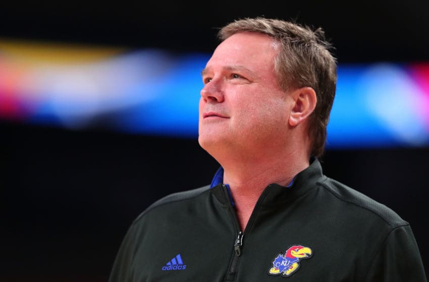 SAN ANTONIO, TX - MARCH 30: head coach Bill Self of the Kansas Jayhawks looks on during practice before the 2018 Men's NCAA Final Four at the Alamodome on March 30, 2018 in San Antonio, Texas. (Photo by Tom Pennington/Getty Images)