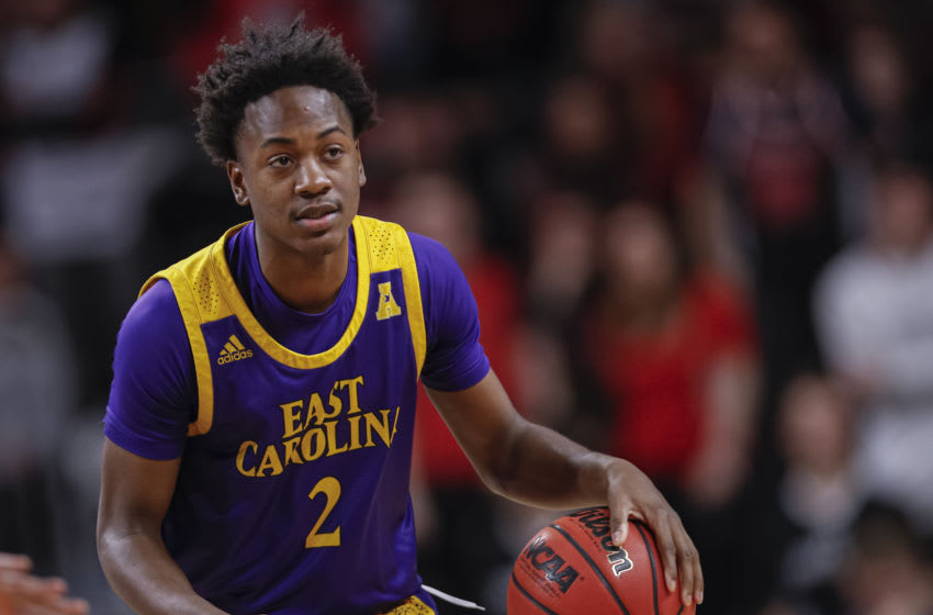 CINCINNATI, OH - JANUARY 19: Tristen Newton #2 of the East Carolina Pirates brings the ball up court during the game against the Cincinnati Bearcats at Fifth Third Arena on January 19, 2020 in Cincinnati, Ohio. (Photo by Michael Hickey/Getty Images)