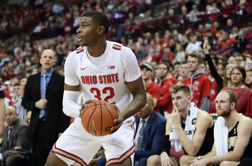 COLUMBUS, OHIO - FEBRUARY 15: E.J. Liddell #32 of the Ohio State Buckeyes looks to pass during their game against the Purdue Boilermakers at Value City Arena on February 15, 2020 in Columbus, Ohio. (Photo by Emilee Chinn/Getty Images)