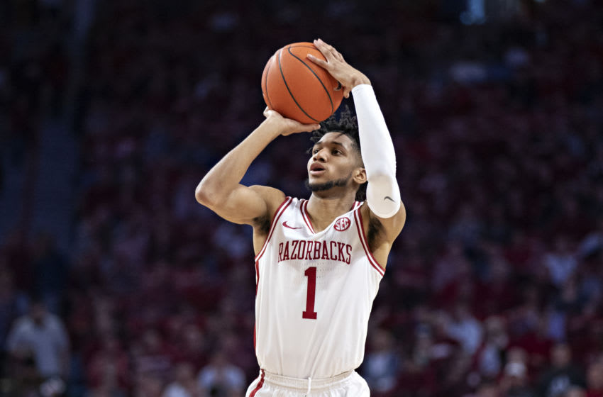 FAYETTEVILLE, AR - FEBRUARY 22: Isaiah Joe #1 of the Arkansas Razorbacks shoots a three point shot during a game against the Missouri Tigers at Bud Walton Arena on February 22, 2020 in Fayetteville, Arkansas. The Razorbacks defeated the Tigers 78-68. (Photo by Wesley Hitt/Getty Images)