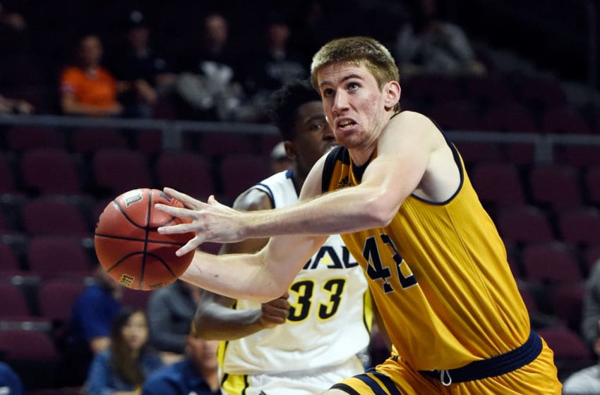 LAS VEGAS, NV - NOVEMBER 24: Tommy Rutherford #42 of the UC Irvine Anteaters looks to pass against the Northern Arizona Lumberjacks during the 2017 Continental Tire Las Vegas Invitational basketball tournament at the Orleans Arena on November 24, 2017 in Las Vegas, Nevada. UC Irvine won 77-71. (Photo by David Becker/Getty Images)