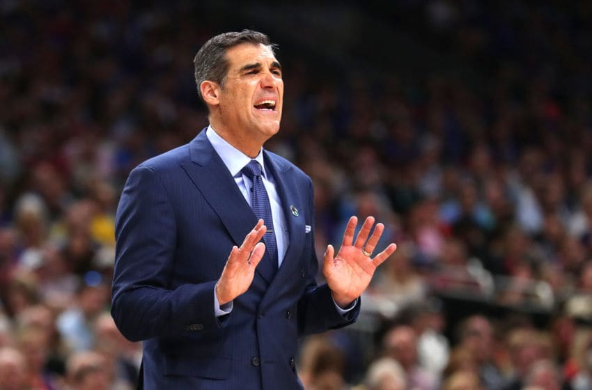 SAN ANTONIO, TX - MARCH 31: Head coach Jay Wright of the Villanova Wildcats gestures in the first half against the Kansas Jayhawks during the 2018 NCAA Men's Final Four Semifinal at the Alamodome on March 31, 2018 in San Antonio, Texas. (Photo by Tom Pennington/Getty Images)