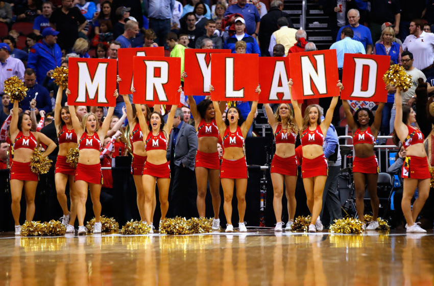 LOUISVILLE, KY - MARCH 24: Maryland Terrapins cheerleaders perform during the game between the Kansas Jayhawks and the Maryland Terrapins in the 2016 NCAA Men's Basketball Tournament South Regional at KFC YUM! Center on March 24, 2016 in Louisville, Kentucky. (Photo by Kevin C. Cox/Getty Images)
