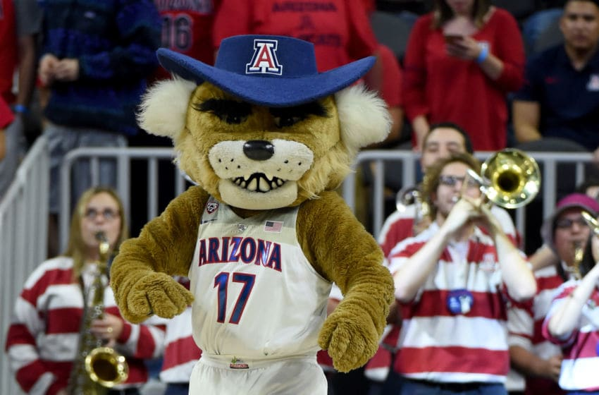 LAS VEGAS, NV - MARCH 10: Arizona Wildcats mascot Wilbur the Wildcat stands on the baseline during the team's semifinal game of the Pac-12 Basketball Tournament against the UCLA Bruins at T-Mobile Arena on March 10, 2017 in Las Vegas, Nevada. Arizona won 86-75. (Photo by Ethan Miller/Getty Images)