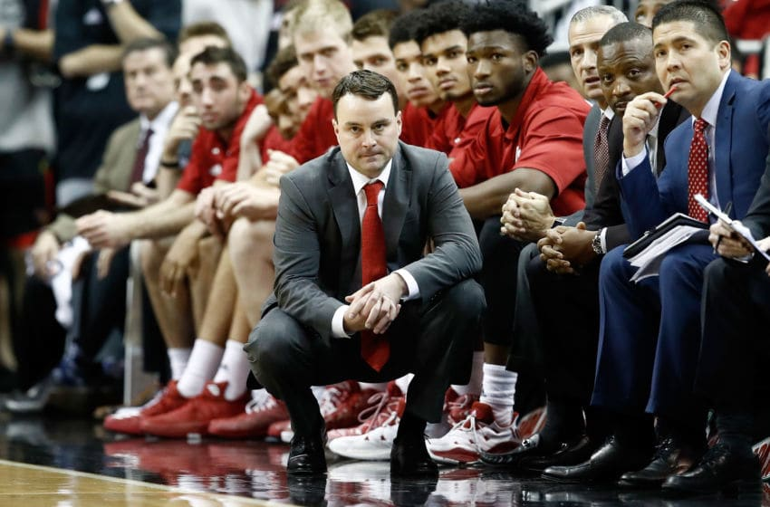 LOUISVILLE, KY - DECEMBER 09: Archie Miller the head coach of the Indiana Hoosiers watches the action in the game against the Louisville Cardinals at KFC YUM! Center on December 9, 2017 in Louisville, Kentucky. (Photo by Andy Lyons/Getty Images)