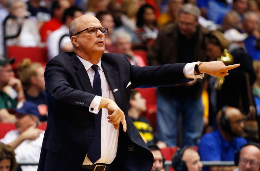 DAYTON, OH - MARCH 15: Head coach Greg Herenda of the Fairleigh Dickinson Knights reacts in the second half against the Florida Gulf Coast Eagles during the first round of the 2016 NCAA Men's Basketball Tournament at UD Arena on March 15, 2016 in Dayton, Ohio. (Photo by Gregory Shamus/Getty Images)