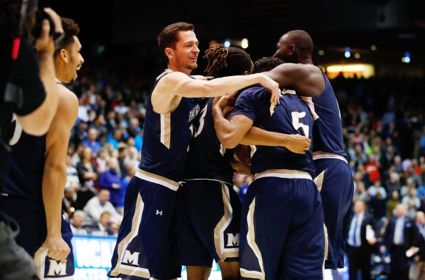 DAYTON, OH - MARCH 14: The Mount St. Mary's Mountaineers celebrate defeating the New Orleans Privateers 67-66 in the First Four game during the 2017 NCAA Men's Basketball Tournament at UD Arena on March 14, 2017 in Dayton, Ohio. (Photo by Gregory Shamus/Getty Images)