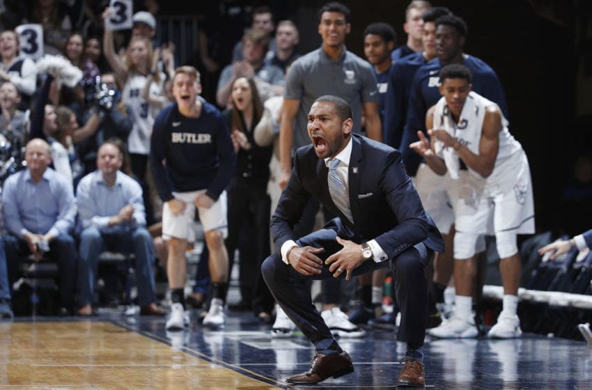 INDIANAPOLIS, IN - FEBRUARY 06: Head coach LaVall Jordan of the Butler Bulldogs reacts in the second half of a game against the Xavier Musketeers at Hinkle Fieldhouse on February 6, 2018 in Indianapolis, Indiana. Xavier defeated Butler 98-93 in overtime. (Photo by Joe Robbins/Getty Images)