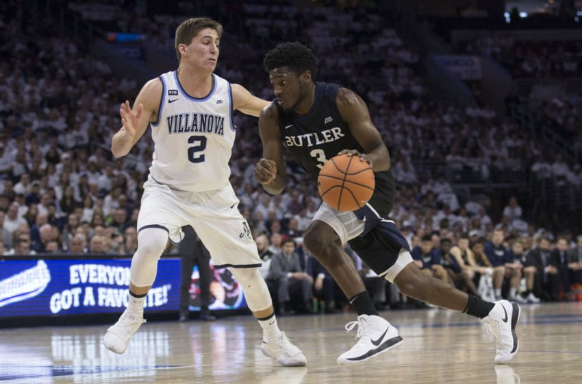 PHILADELPHIA, PA - FEBRUARY 10: Kamar Baldwin #3 of the Butler Bulldogs drives to the basket against Collin Gillespie #2 of the Villanova Wildcats at the Wells Fargo Center on February 10, 2018 in Philadelphia, Pennsylvania. (Photo by Mitchell Leff/Getty Images)