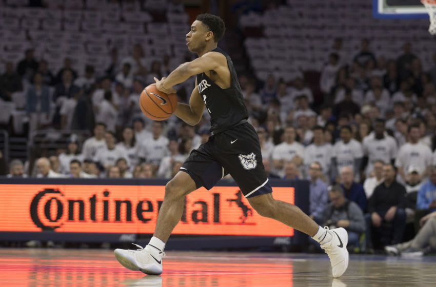 PHILADELPHIA, PA - FEBRUARY 10: Aaron Thompson #2 of the Butler Bulldogs passes the ball against the Villanova Wildcats at the Wells Fargo Center on February 10, 2018 in Philadelphia, Pennsylvania. (Photo by Mitchell Leff/Getty Images)