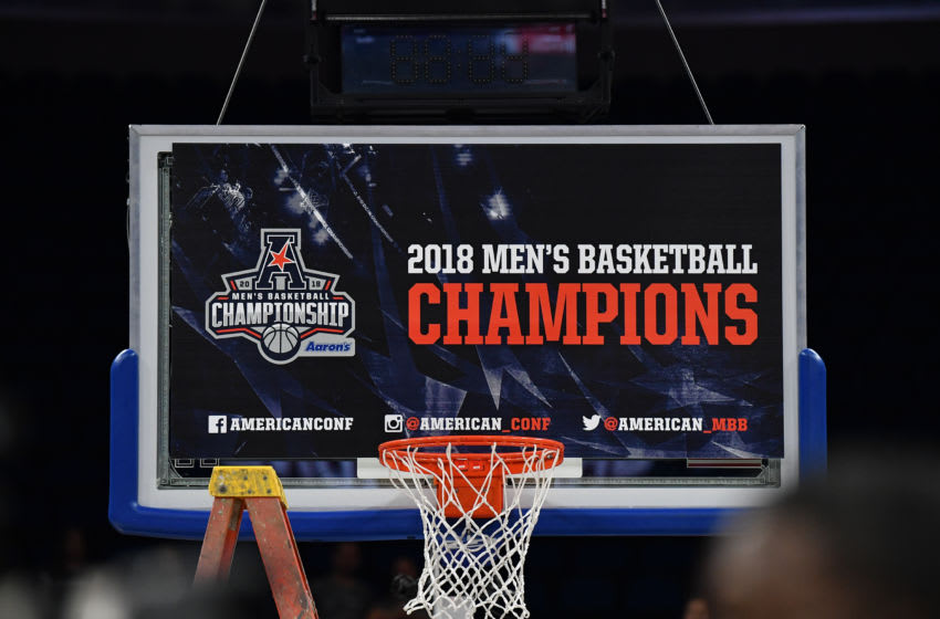ORLANDO, FL - MARCH 11: A detailed view of the AAC Championship banner displayed on the backboard after du the final game of the 2018 AAC Basketball Championship between Cincinnati Bearcats and the Houston Cougarsa at Amway Center on March 11, 2018 in Orlando, Florida. (Photo by Mark Brown/Getty Images) *** Local Caption ***