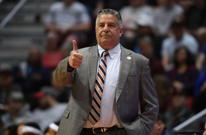 SAN DIEGO, CA - MARCH 18: Head coach Bruce Pearl of the Auburn Tigers reacts as they take on the Clemson Tigers in the first half during the second round of the 2018 NCAA Men's Basketball Tournament at Viejas Arena on March 18, 2018 in San Diego, California. (Photo by Donald Miralle/Getty Images)