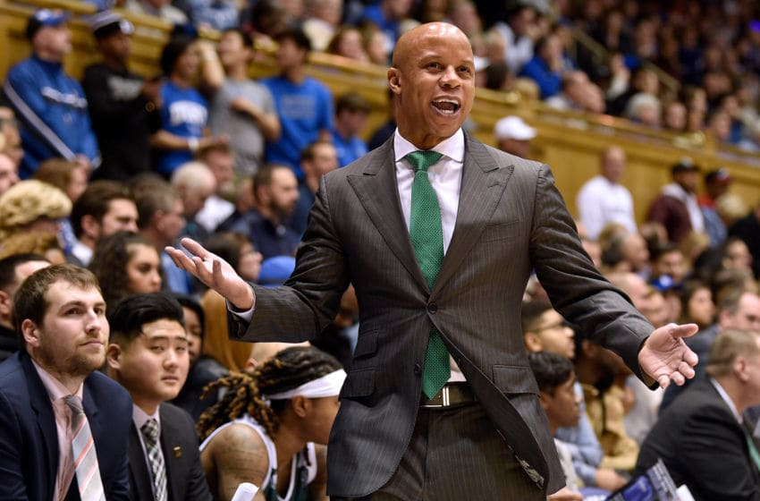 DURHAM, NORTH CAROLINA - NOVEMBER 14: Head coach Rob Murphy of the Eastern Michigan Eagles reacts during the second half of their game against the Duke Blue Devils at Cameron Indoor Stadium on November 14, 2018 in Durham, North Carolina. (Photo by Grant Halverson/Getty Images)
