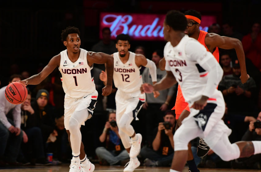 NEW YORK, NEW YORK - NOVEMBER 15: Christian Vital #1 of the Connecticut Huskies takes the ball down the court in the second half of the game against Syracuse Orange during the 2k Empire Classic at Madison Square Garden on November 15, 2018 in New York City. (Photo by Sarah Stier/Getty Images)