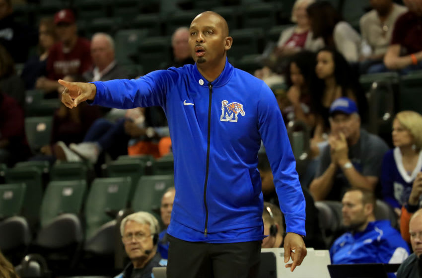 ORLANDO, FLORIDA - NOVEMBER 25: Penny Hardaway, head coach of the Memphis Tigers, watches the action during the game against the Charleston Cougars at HP Field House on November 25, 2018 in Orlando, Florida. (Photo by Sam Greenwood/Getty Images)