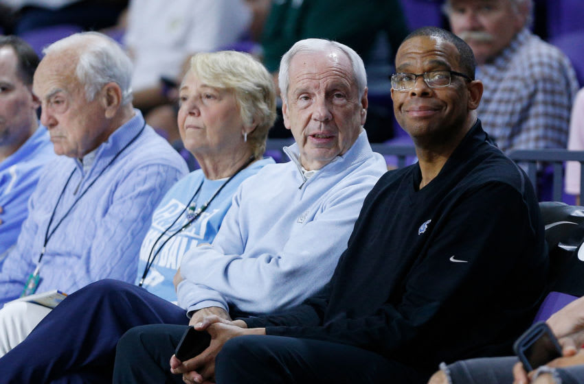FORT MYERS, FL - DECEMBER 19: Head coach Roy Williams (L) and assistant coach Hubert Davis of the North Carolina Tar Heels look on during the City Of Palms Classic at Suncoast Credit Union Arena on December 19, 2018 in Fort Myers, Florida. (Photo by Michael Reaves/Getty Images)