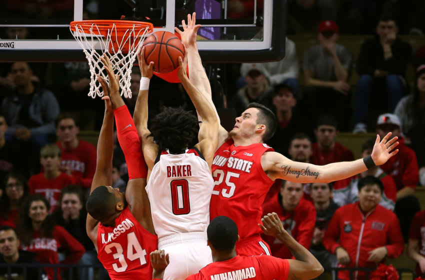 PISCATAWAY, NJ - JANUARY 09: Geo Baker #0 of the Rutgers Scarlet Knights attempts a shot as Kaleb Wesson #34 Kyle Young #25 and Luther Muhammad #1 of the Ohio State Buckeyes defend during the first half a game at Rutgers Athletic Center on January 9, 2019 in Piscataway, New Jersey. (Photo by Rich Schultz/Getty Images)