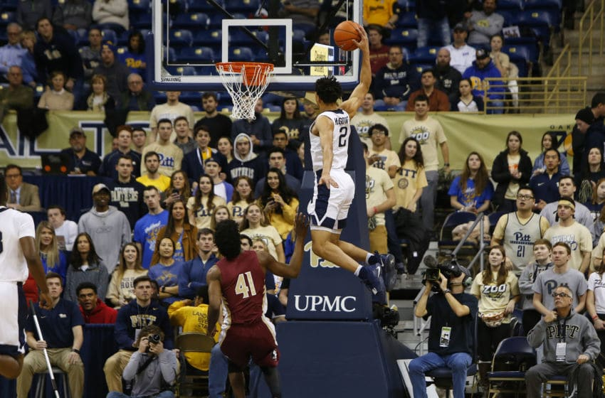 PITTSBURGH, PA - JANUARY 14: Trey McGowens #2 of the Pittsburgh Panthers attempt a dunk against Terance Mann #41 of the Florida State Seminoles at Petersen Events Center on January 14, 2019 in Pittsburgh, Pennsylvania. (Photo by Justin K. Aller/Getty Images)