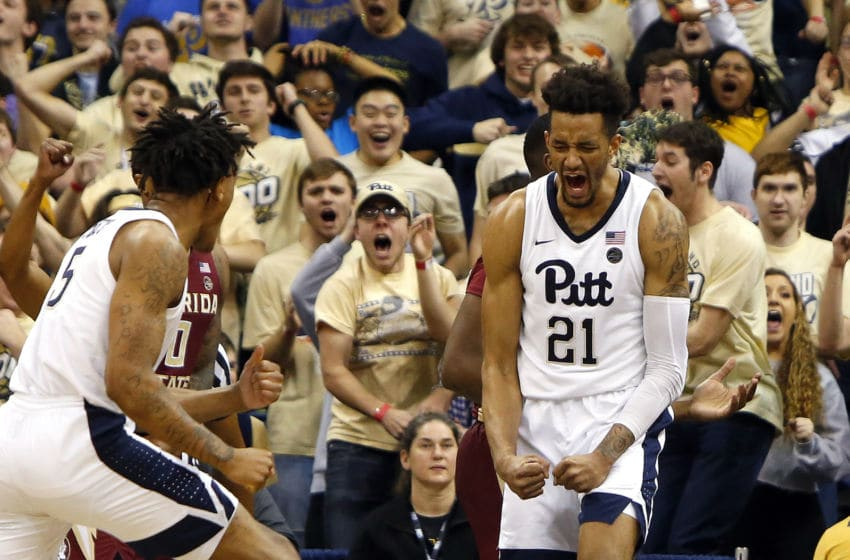 PITTSBURGH, PA - JANUARY 14: Terrell Brown #21 of the Pittsburgh Panthers celebrates after an and one against the Florida State Seminoles at Petersen Events Center on January 14, 2019 in Pittsburgh, Pennsylvania. (Photo by Justin K. Aller/Getty Images)