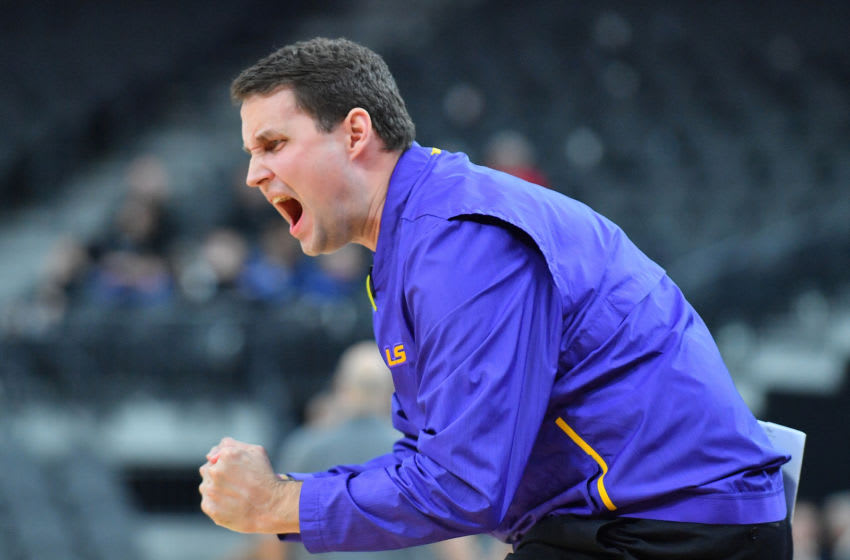 LAS VEGAS, NEVADA - DECEMBER 15: Head coach Will Wade of the LSU Tigers celebrates after his team made a basket late in the second half their game against the Saint Mary's Gaels at T-Mobile Arena on December 15, 2018 in Las Vegas, Nevada. LSU defeated Saint Mary's 78-74. (Photo by Sam Wasson/Getty Images)