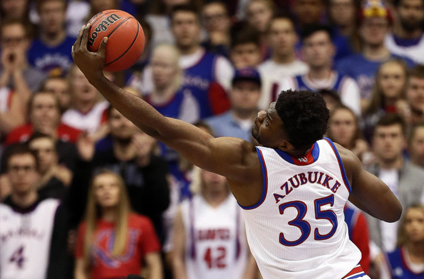 LAWRENCE, KANSAS - JANUARY 02: Udoka Azubuike #35 of the Kansas Jayhawks grabs a rebound during the game against the Oklahoma Sooners at Allen Fieldhouse on January 02, 2019 in Lawrence, Kansas. (Photo by Jamie Squire/Getty Images)