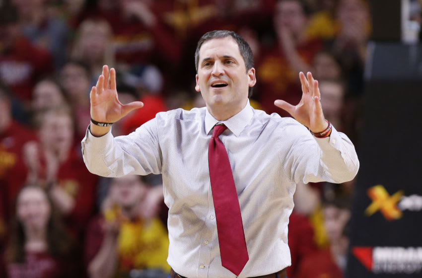 AMES, IA - JANUARY 30: Head coach Steve Prohm of the Iowa State Cyclones argues a call by the official in the first half of play against thew West Virginia Mountaineers at Hilton Coliseum on January 30, 2019 in Ames, Iowa. (Photo by David Purdy/Getty Images)
