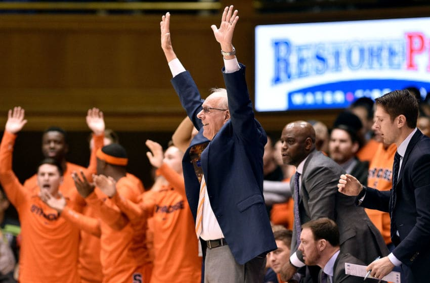 DURHAM, NORTH CAROLINA - JANUARY 14: Head coach Jim Boeheim and the Syracuse Orange bench react during a win against the Duke Blue Devils at Cameron Indoor Stadium on January 14, 2019 in Durham, North Carolina. (Photo by Grant Halverson/Getty Images)