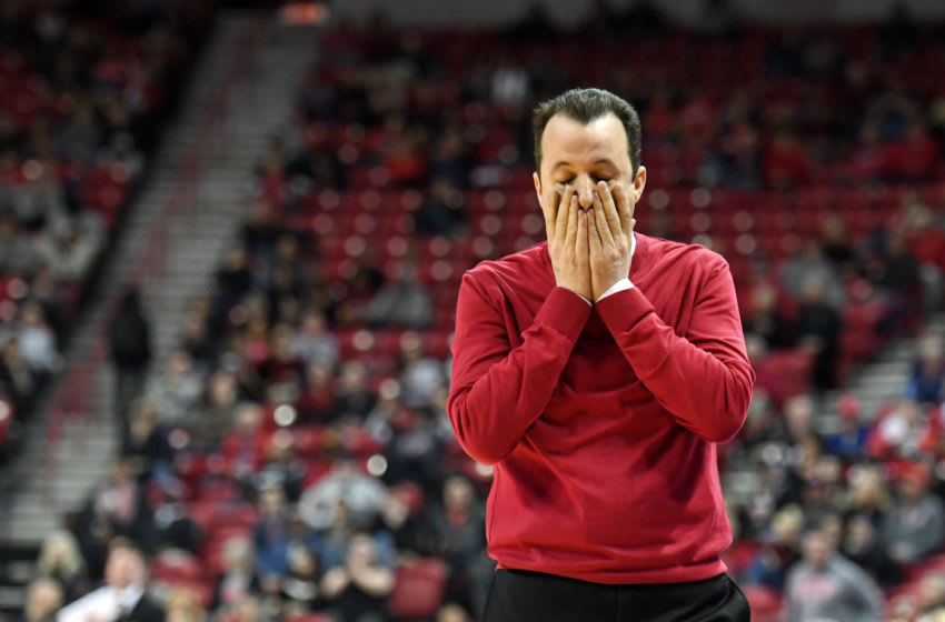 LAS VEGAS, NEVADA - JANUARY 22: Head coach Paul Weir of the New Mexico Lobos reacts during his team's game against the UNLV Rebels at the Thomas & Mack Center on January 22, 2019 in Las Vegas, Nevada. The Rebels defeated the Lobos 74-58. (Photo by Ethan Miller/Getty Images)