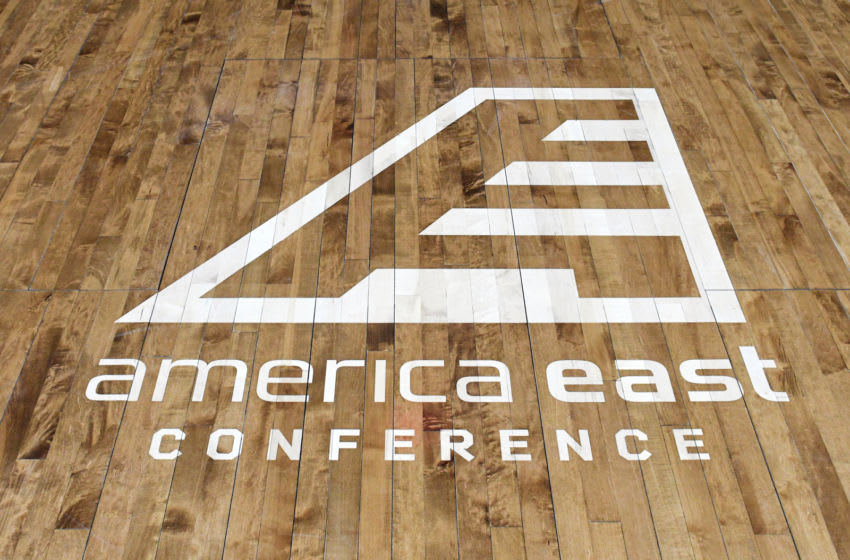 CATONSVILLE, MD - FEBRUARY 21: The American East Conference logo on the floor before a college basketball game between the Vermont Catamounts and the UMBC Retrievers at the Event Center on February 21, 2019 in Catsonville, Maryland. (Photo by Mitchell Layton/Getty Images)