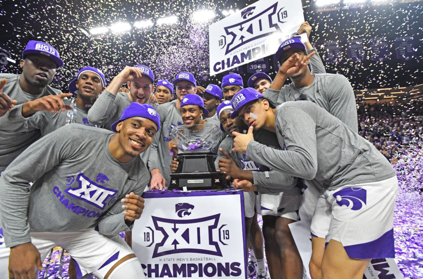MANHATTAN, KS - MARCH 09: Players of the Kansas State Wildcats celebrate after wining the Big 12 Regular Season Championship on March 9, 2019 at Bramlage Coliseum in Manhattan, Kansas. (Photo by Peter G. Aiken/Getty Images)