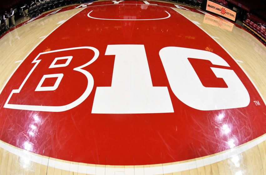 COLLEGE PARK, MD - FEBRUARY 12: The Big Ten logo logo on the floor before a college basketball game between the Maryland Terrapins and the Purdue Boilermakers at the XFinity Center on February 12, 2019 in College Park, Maryland. (Photo by Mitchell Layton/Getty Images) *** Local Caption ***