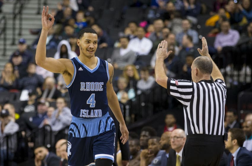 NEW YORK, NY - MARCH 16: Tyrese Martin #4 of the Rhode Island Rams reacts after making a three point basket against the St. Bonaventure Bonnies during the semifinals of the Atlantic 10 2019 tournament at the Barclays Center on March 16, 2019 in the Brooklyn borough of New York City. The St. Bonaventure Bonnies defeated the Rhode Island Rams 68-51. (Photo by Mitchell Leff/Getty Images)