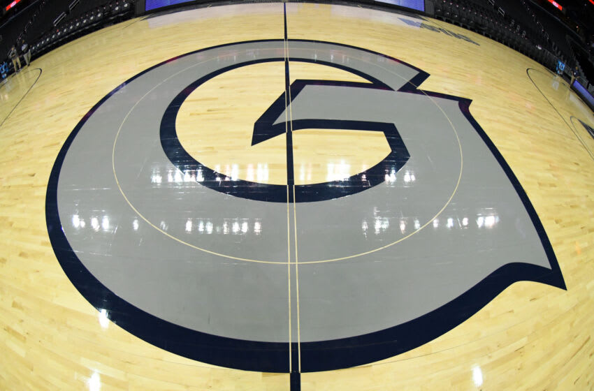 WASHINGTON, DC - FEBRUARY 20: The Georgetown Hoyas logo on the floor before a college basketball against the Villanova Wildcats at the Capital One Arena on February 20, 2019 in Washington, DC. (Photo by Mitchell Layton/Getty Images) *** Local Caption ***