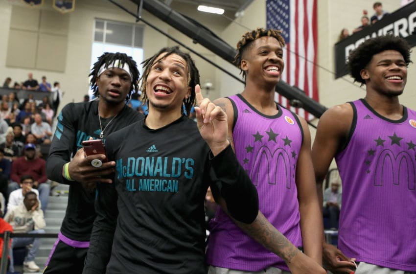 MARIETTA, GA - MARCH 25: Cole Anthony reacts during the 2019 Powerade Jam Fest on March 25, 2019 in Marietta, Georgia. (Photo by Patrick Smith/Getty Images for Powerade)