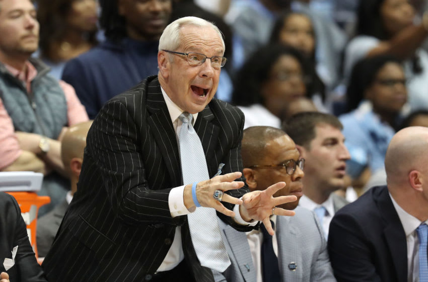 CHAPEL HILL, NORTH CAROLINA - MARCH 09: Head coach Roy Williams of the North Carolina Tar Heels reacts during their game against the Duke Blue Devilsat Dean Smith Center on March 09, 2019 in Chapel Hill, North Carolina. (Photo by Streeter Lecka/Getty Images)