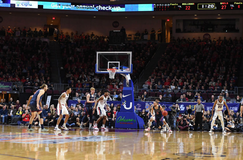 LAS VEGAS, NEVADA - MARCH 12: The Saint Mary's Gaels and the Gonzaga Bulldogs play in the championship game of the West Coast Conference basketball tournament at the Orleans Arena on March 12, 2019 in Las Vegas, Nevada. The Gaels defeated the Bulldogs 60-47. (Photo by Ethan Miller/Getty Images)