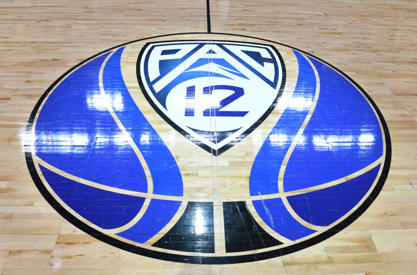 LAS VEGAS, NEVADA - MARCH 15: A Pac-12 basketball logo is displayed on the court before a semifinal game of the Pac-12 basketball tournament between the Colorado Buffaloes and the Washington Huskies at T-Mobile Arena on March 15, 2019 in Las Vegas, Nevada. (Photo by Ethan Miller/Getty Images)