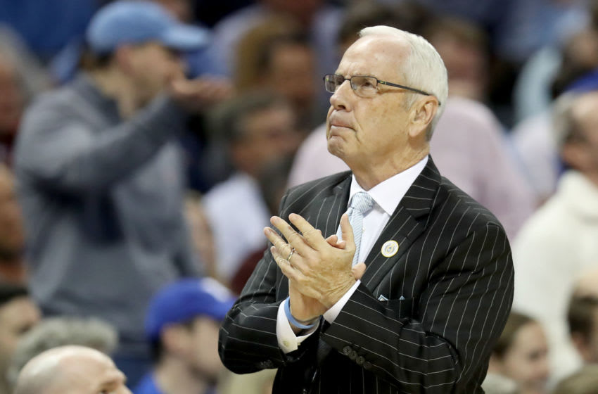 CHARLOTTE, NORTH CAROLINA - MARCH 15: Head coach Roy Williams of the North Carolina Tar Heels looks on against the Duke Blue Devils during their game in the semifinals of the 2019 Men's ACC Basketball Tournament at Spectrum Center on March 15, 2019 in Charlotte, North Carolina. (Photo by Streeter Lecka/Getty Images)