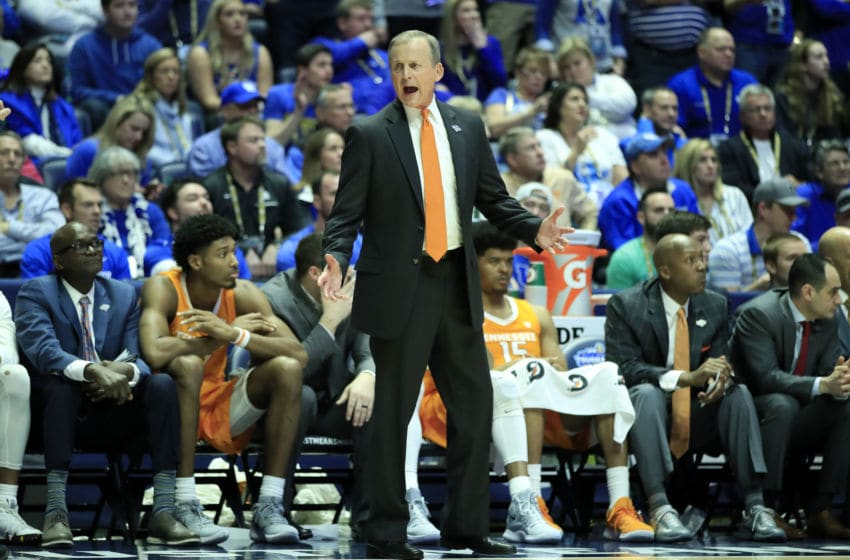 NASHVILLE, TENNESSEE - MARCH 16: Rick Barnes the head coach of the Tennessee Volunteers gives instructions to his team during the 82-78 win over the Kentucky Wildcats during the semifinals of the SEC Basketball Tournament at Bridgestone Arena on March 16, 2019 in Nashville, Tennessee. (Photo by Andy Lyons/Getty Images)