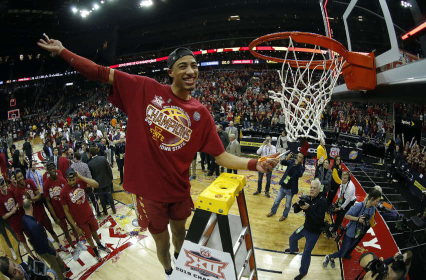 KANSAS CITY, MISSOURI - MARCH 16: Tyrese Haliburton #22 of the Iowa State Cyclones cuts a piece of the net after the Cyclones defeated the Kansas Jayhawks 78-66 to win the Big 12 Basketball Tournament Finals at Sprint Center on March 16, 2019 in Kansas City, Missouri. (Photo by Jamie Squire/Getty Images)
