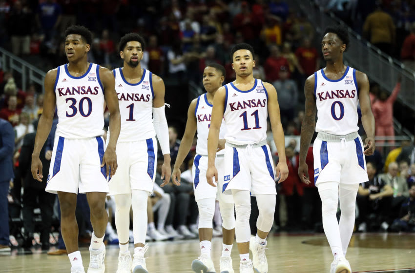 KANSAS CITY, MISSOURI - MARCH 16: The Kansas Jayhawks walk onto the court after a timeout in the Big 12 Basketball Tournament Finals against the Iowa State Cyclones at Sprint Center on March 16, 2019 in Kansas City, Missouri. (Photo by Jamie Squire/Getty Images)