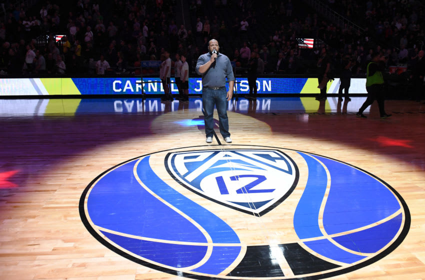 LAS VEGAS, NEVADA - MARCH 16: Singer Carnell Johnson performs the American national anthem before the championship game of the Pac-12 basketball tournament between the Oregon Ducks and the Washington Huskies at T-Mobile Arena on March 16, 2019 in Las Vegas, Nevada. The Ducks defeated the Huskies 68-48. (Photo by Ethan Miller/Getty Images)