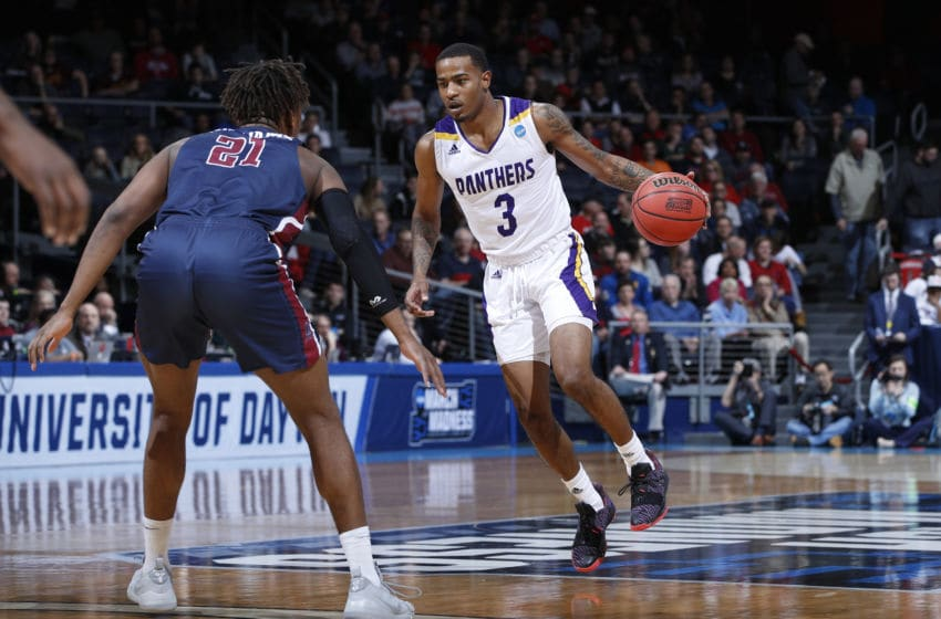 DAYTON, OHIO - MARCH 19: Gary Blackston #3 of the Prairie View A&M Panthers dribbles during the first half against the Fairleigh Dickinson Knights in the First Four of the 2019 NCAA Men's Basketball Tournament at UD Arena on March 19, 2019 in Dayton, Ohio. (Photo by Joe Robbins/Getty Images)