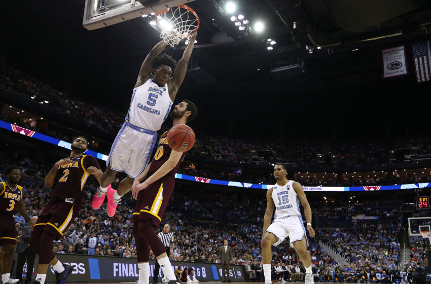 COLUMBUS, OHIO - MARCH 22: Nassir Little #5 of the North Carolina Tar Heels dunks against Andrija Ristanovic #10 of the Iona Gaels during the second half of the game in the first round of the 2019 NCAA Men's Basketball Tournament at Nationwide Arena on March 22, 2019 in Columbus, Ohio. (Photo by Gregory Shamus/Getty Images)