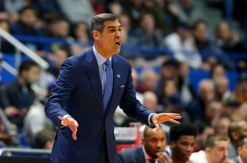 HARTFORD, CONNECTICUT - MARCH 23: Head coach Jay Wright of the Villanova Wildcats instructs his team against the Purdue Boilermakers in the first half during the second round of the 2019 NCAA Men's Basketball Tournament at XL Center on March 23, 2019 in Hartford, Connecticut. (Photo by Maddie Meyer/Getty Images)