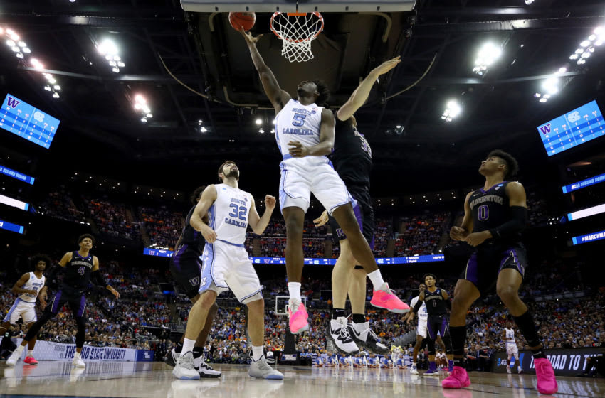 COLUMBUS, OHIO - MARCH 24: Nassir Little #5 of the North Carolina Tar Heels goes up for a shot against Sam Timmins #33 of the Washington Huskies during their game in the Second Round of the NCAA Basketball Tournament at Nationwide Arena on March 24, 2019 in Columbus, Ohio. (Photo by Gregory Shamus/Getty Images)