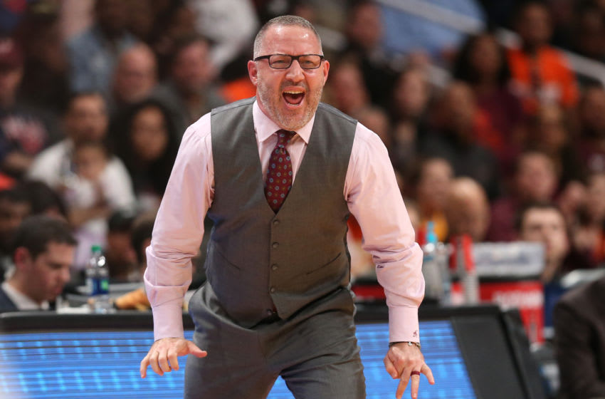 SAN JOSE, CALIFORNIA - MARCH 24: Head coach Buzz Williams of the Virginia Tech Hokies reacts in the second half against the Liberty Flames during the second round of the 2019 NCAA Men's Basketball Tournament at SAP Center on March 24, 2019 in San Jose, California. (Photo by Ezra Shaw/Getty Images)