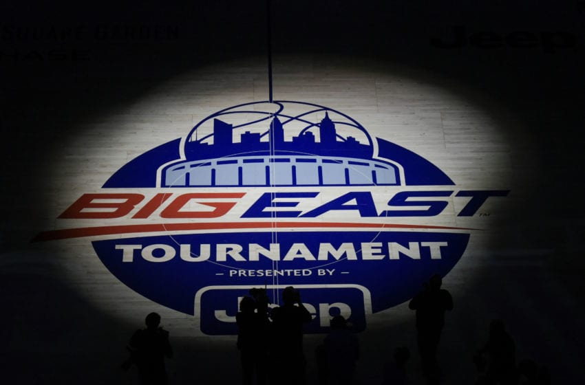 NEW YORK, NY - MARCH 16: The Big East logo before the Championship game of the Big East Tournament at Madison Square Garden on March 16, 2019 in New York City. (Photo by Porter Binks/Getty Images)
