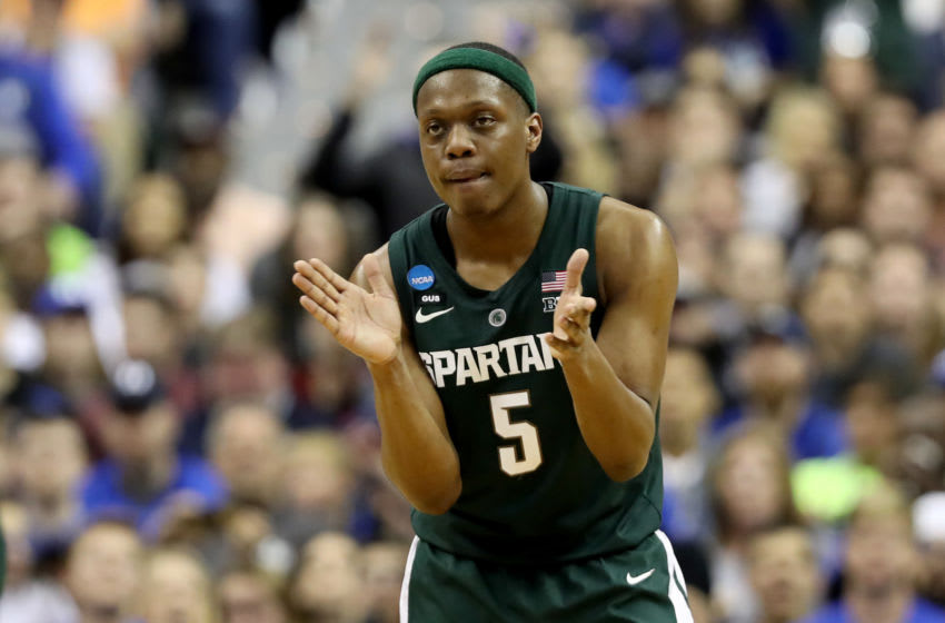 WASHINGTON, DC - MARCH 31: Cassius Winston #5 of the Michigan State Spartans celebrates a basket against the Duke Blue Devils during the second half in the East Regional game of the 2019 NCAA Men's Basketball Tournament at Capital One Arena on March 31, 2019 in Washington, DC. (Photo by Rob Carr/Getty Images)